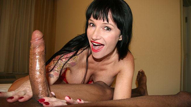 Mom Angie Noir Milks Massive Black Boner - Over 40 Handjobs